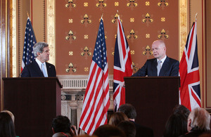 Foreign Secretary William Hague and US Secretary of State John Kerry in London.