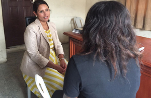 International Development Secretary Priti Patel meets with a survivor of modern slavery at a safe house in Lagos, Nigeria. Picture: Cordelia Nelson/DFID