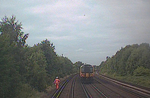 Forward facing CCTV image showing track worker in front of train (courtesy of South Western Railway).