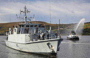 Royal Navy mine hunter HMS Penzance returned to her Scottish base. Crown copyright.