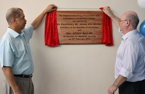 Foreign Office Minister Alistair Burt and President James Michel unveiling the plaque at the opening ceremony of RAPPICC