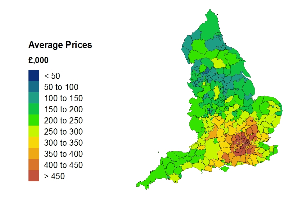 Heat map about average price by local authority for England