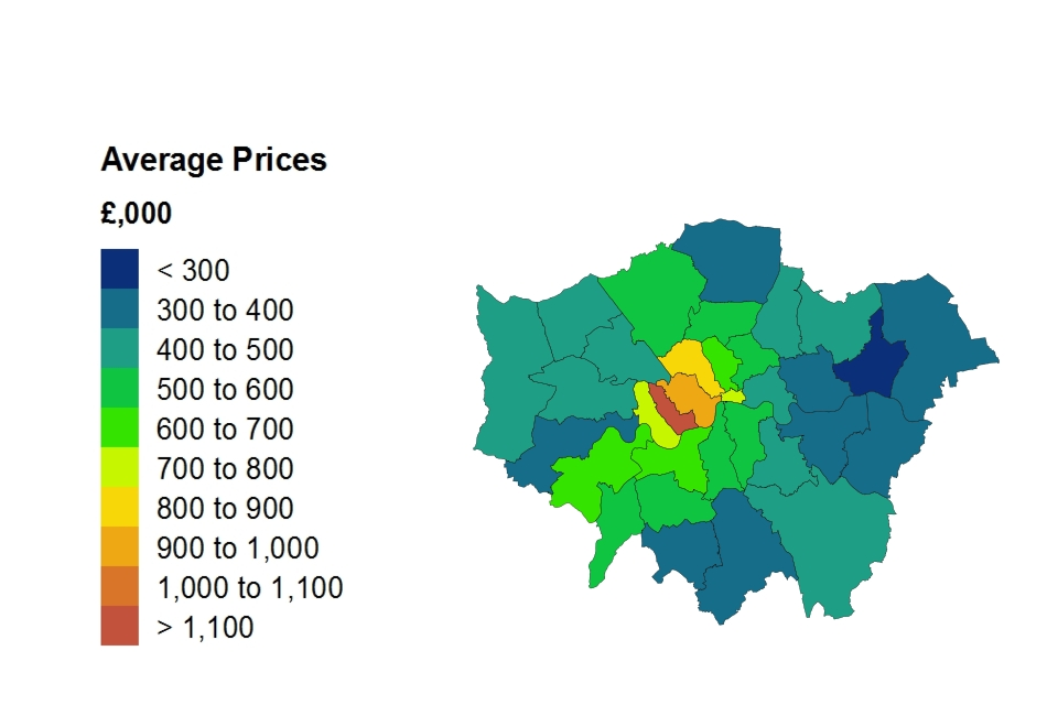 Heat map for average price by London borough