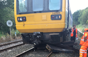 Damage to the passenger train following the collision (image courtesy of Network Rail)
