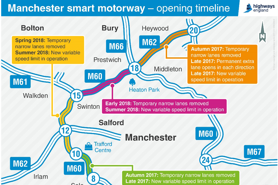 Map showing Manchester Smart Motorway opening timeline