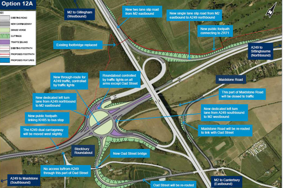 Image of map showing Highways England's plans for improvements at junction 5 on the M2