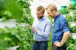 Alex Fisher (founder and CEO of Saturn Bioponics) on left, looking at hydroponically grown crops with Arnoud Witteveen, (research, development and technical support)