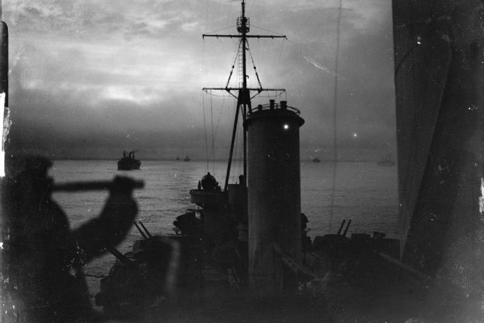 View from the cruiser HMS Sheffield during an Arctic Convoy escort patrol