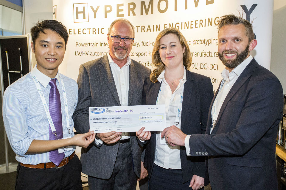 Competitions winners Thomas Lee, AIE UK, Bob Austin, Sunamp, Liz Harber, Programme and Operations Manager and Jeremy Bowman, Founder, both of Hypermotive