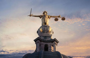 Gold Lady Justice Statue on top of the Old Bailey in London