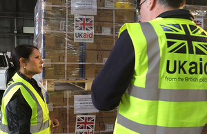 Priti Patel at DFID's aid distribution hub at Kemble. Picture: Jo Harrison/DFID