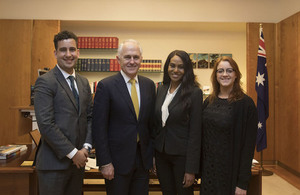 Prime Minister Malcolm Turnbull with the 2017 scholarship recipients