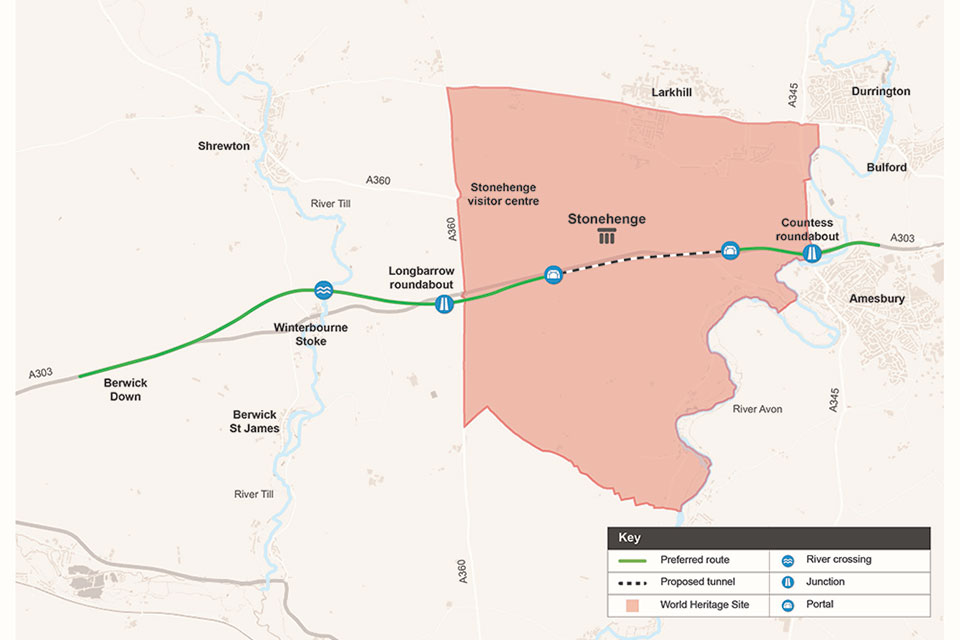 Image of the A303 Stonehenge route.