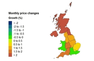 Percentage change heatmap for UK House Price Index