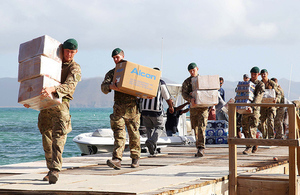 UK delivers food, water and medical supplies to the British Virgin Islands. Picture: MOD