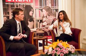 British Ambassador John Casson and World Squash Champion Noor El-Sherbeeni