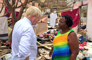 Foreign Secretary Boris Johnson meeting people in the British Virgin Islands after Hurricane Irma