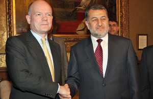 Foreign Secretary William Hague meeting Afghan Defence Minister HE General Bismellah Mohammadi in London, 26 February 2013.
