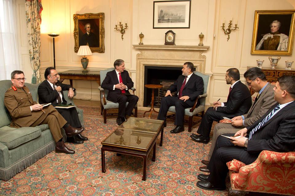 Afghan Defence Minister Bismillah Mohammadi meeting Philip Hammond