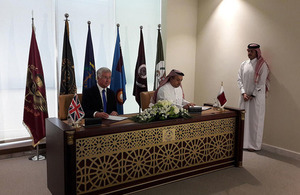 Sir Michael Fallon and his Qatari counterpart, Khalid bin Mohammed al Attiyah, signed a Statement of Intent today concerning Qatar's proposed purchase of 24 Typhoon aircraft. Crown copyright.