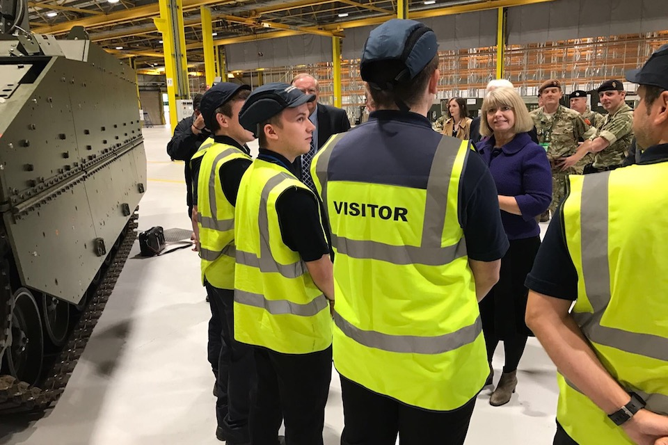 Defence Minister Harriett Baldwin met with apprentices working on the Ajax programme at the factory in Merthyr Tydfil.