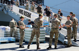 HMS Ocean receiving replies in Gibraltar before leaving for the Caribbean