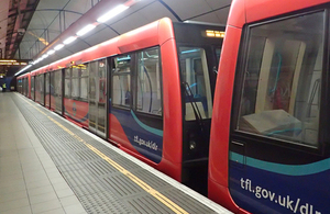 A Docklands Light Railway service at Bank station