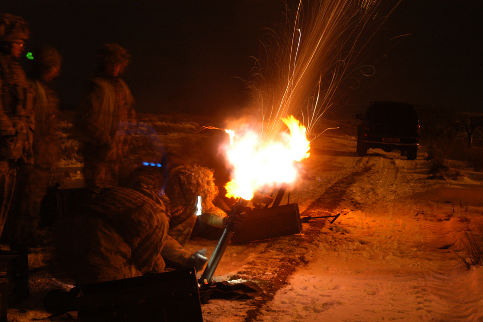 Soldiers firing mortars at night
