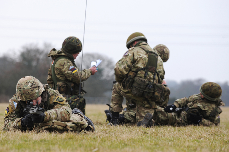 Troops from 144 Parachute Medical Squadron taking part in a training exercise