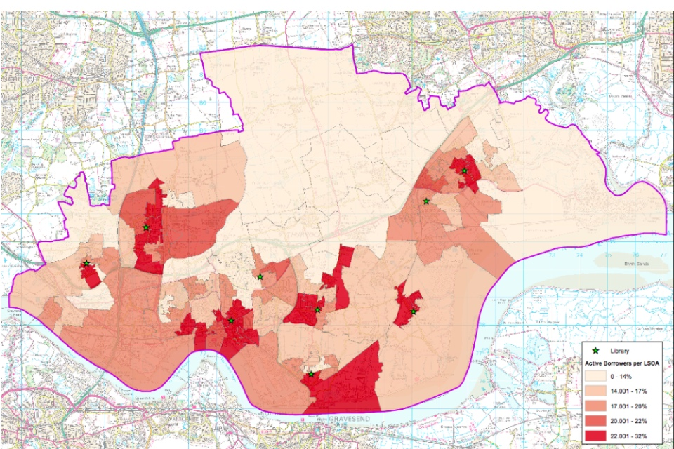 Map showing active library borrowers over the Lowest Super Output Area