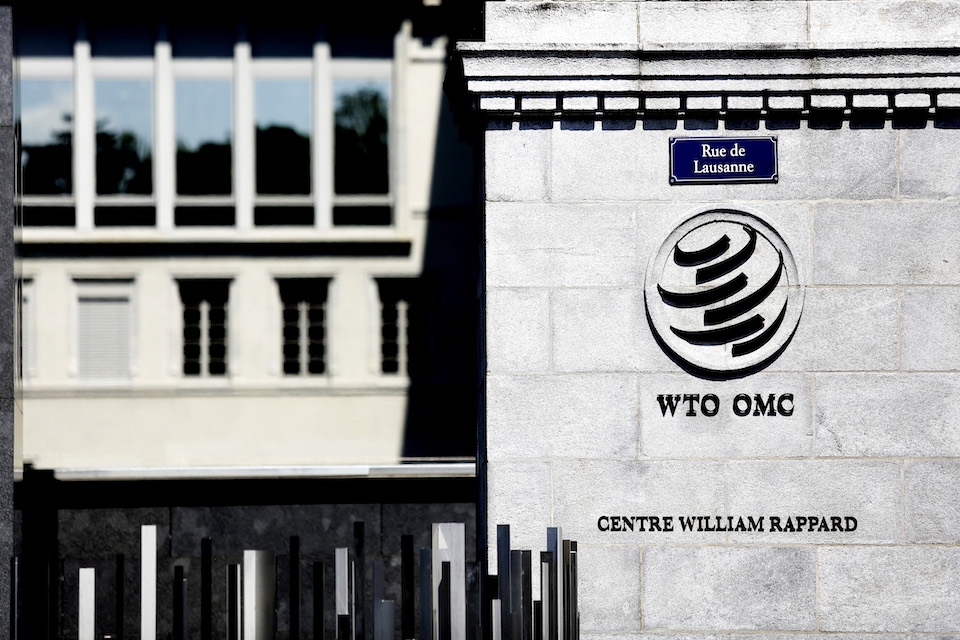 Outside the WTO in Geneva.