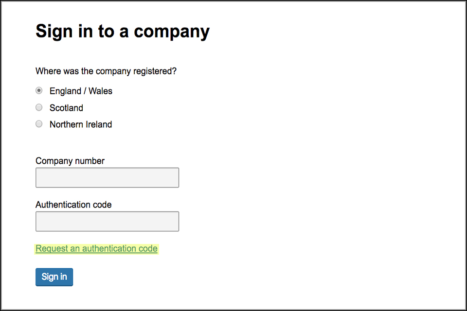 Company authentication codes for online filing - GOV UK