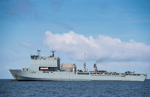 RFA Mounts Bay off the shores of Grand Turk. Crown Copyright.