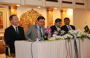 The UK Minister for Trade Policy, Mr Greg Hands, Pakistan's Minister of Commerce, Mr Muhammad Pervaiz Malik and British High Commissioner to Pakistan, Mr Thomas Drew