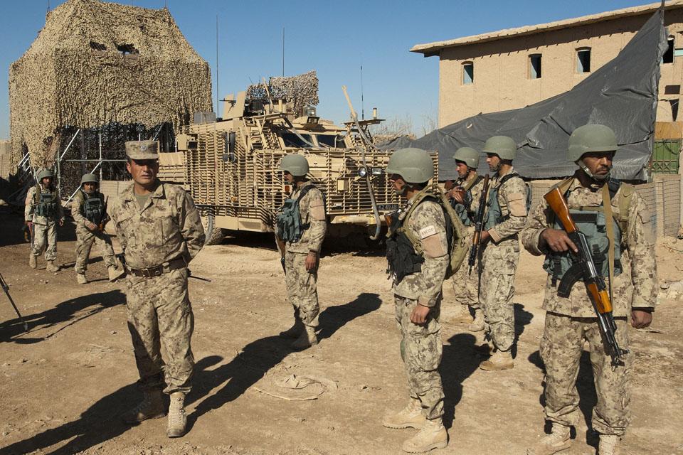 Afghan National Civil Order Police at Patrol Base Pan Kalay