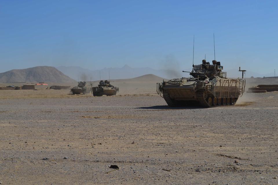British Army Warrior fighting vehicles