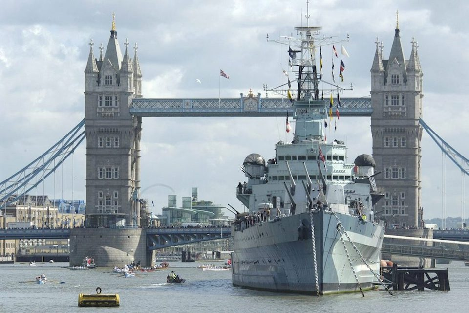The original HMS Belfast, belonging to the Imperial War Museum, based on the Thames.