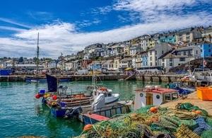 Colorful seaside village of Brixham Devon