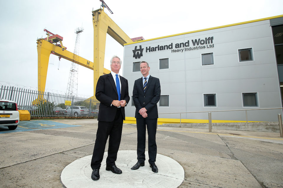 The Defence Secretary visited Harland & Wolff, near Belfast, one of the UK shipyards that could bid for the new Type 31e frigates.