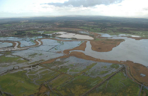 Aerial photograph showing the Moors area of Poole Harbour during winter flooding