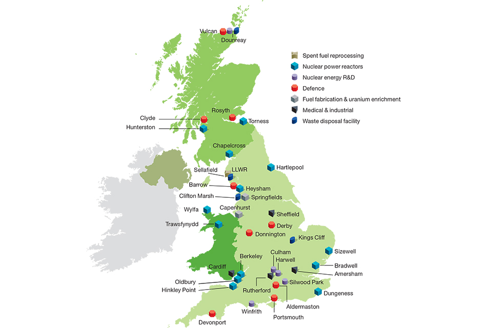 A map of nuclear sites across the UK