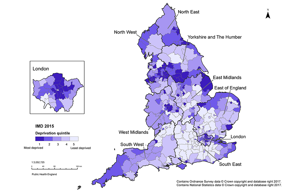 Figure 5. Map of lower tier local authorities (districts and unitary authorities) shaded to indicate the Index of Multiple Deprivation (IMD) 2015 deprivation quintile of the area, England, 2015