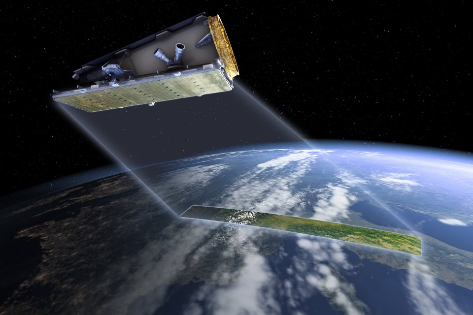 Computer generated image of NovaSAR-S in orbit.  Credit SSTL.