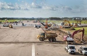Work in full swing on the runway intersection. Crown Copyright.