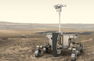 Artist's impression of the ExoMars rover and surface platform on the surface of Mars.