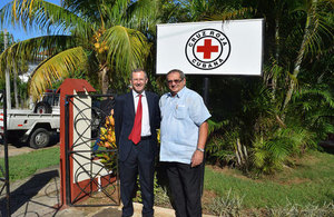 British Ambassador Antony Stokes and President of CRC Dr Luis Foyo at the Red Cross