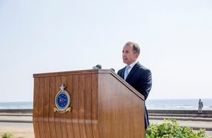 The British High Commissioner, Thomas Drew speaking at the airshow by Red Arrows on sea view Karachi.