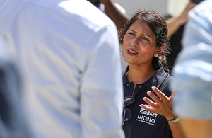 Priti Patel pictured on a visit to the British Virgin Islands after Hurricane Irma. Picture: Crown copyright