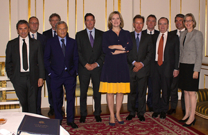 Home Secretary Amber Rudd, Safeguarding Minister Sarah Newton, and CEOs of large UK companies