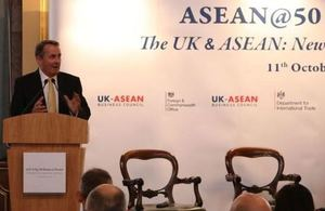 Dr Liam Fox speaking at ASEAN@50 Business Forum